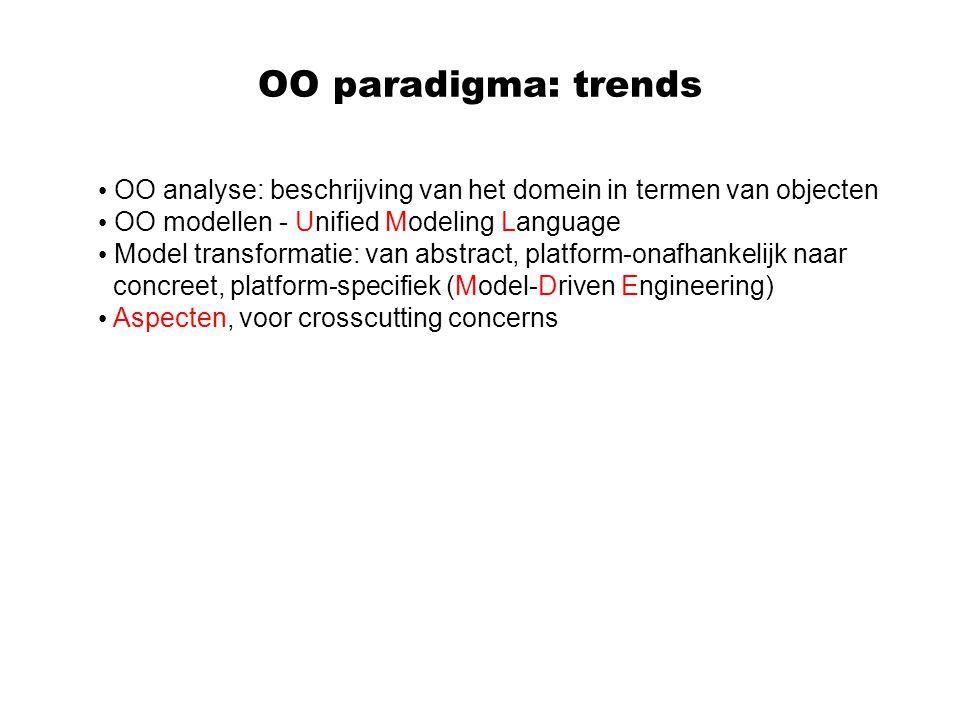 OO paradigma: trends OO analyse: beschrijving van het domein in termen van objecten OO modellen - Unified Modeling Language Model transformatie: van a