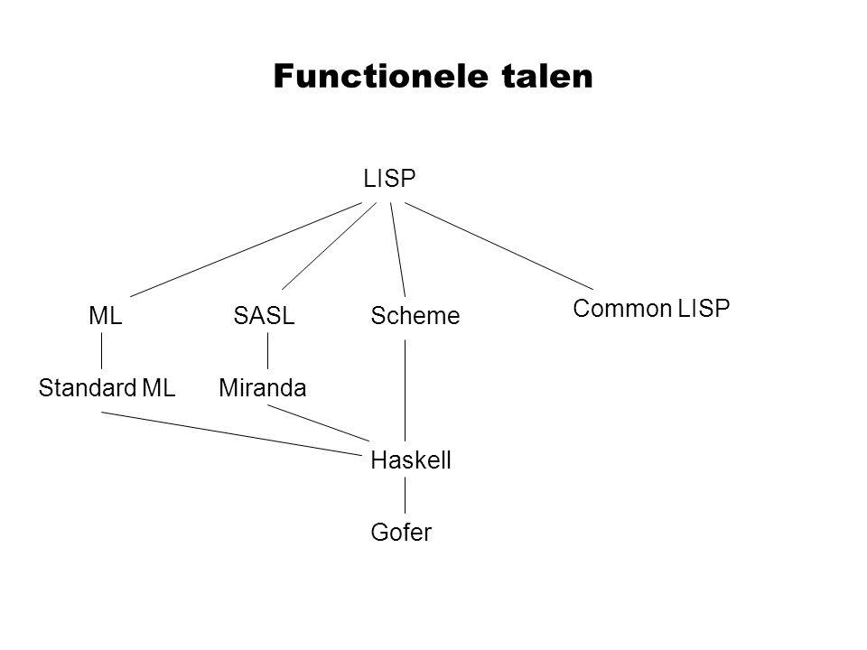 Functionele talen Gofer Haskell MirandaStandard ML MLSASLScheme Common LISP LISP