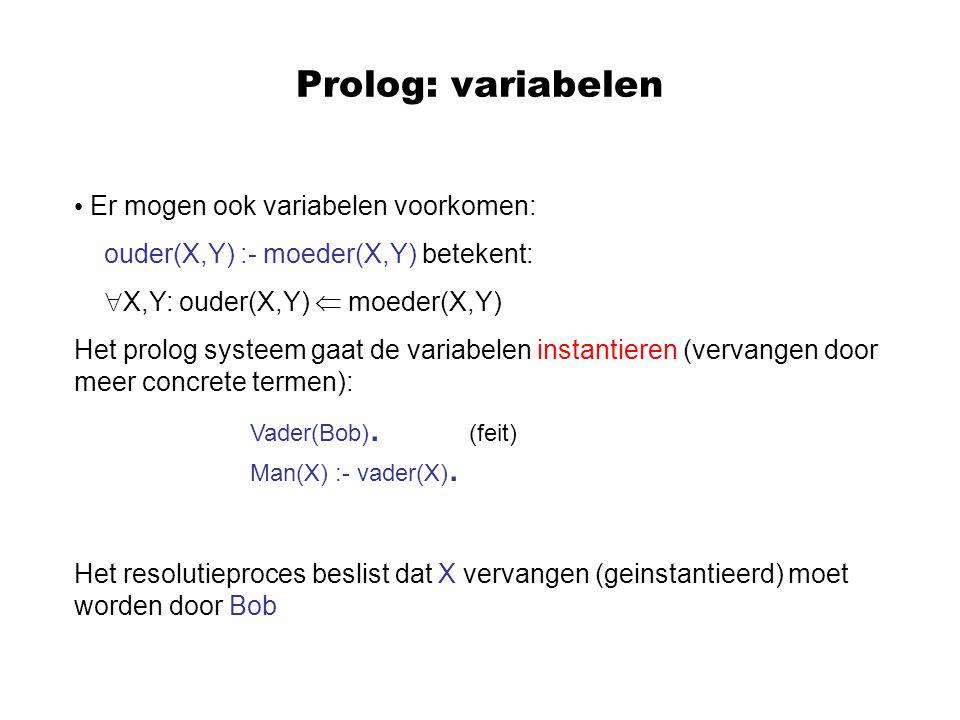 Prolog: variabelen Er mogen ook variabelen voorkomen: ouder(X,Y) :- moeder(X,Y) betekent:  X,Y: ouder(X,Y)  moeder(X,Y) Het prolog systeem gaat de v