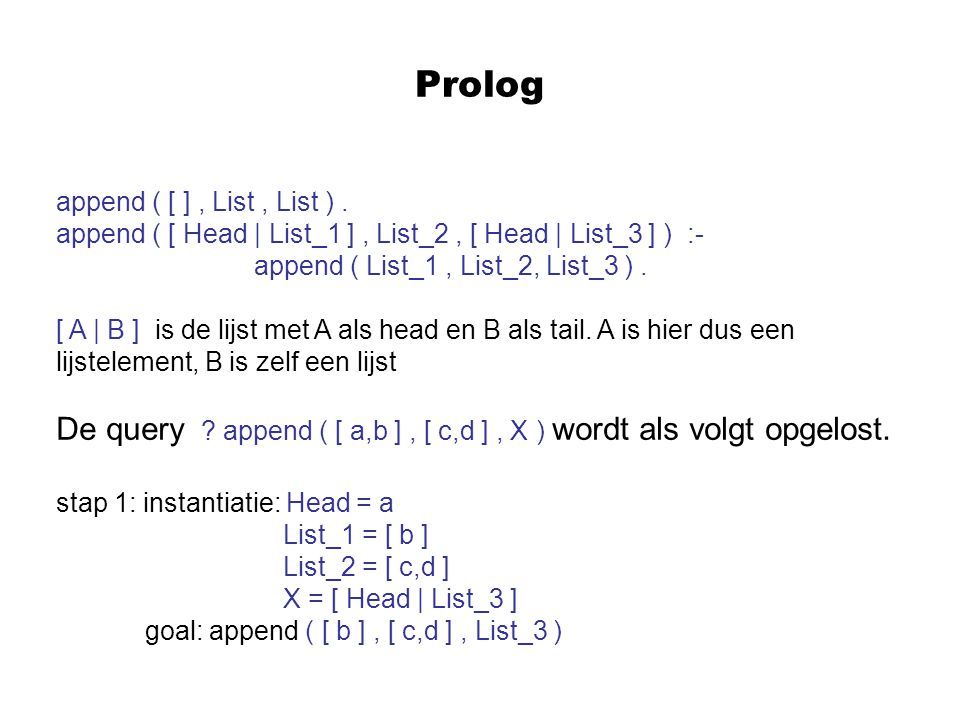 Prolog append ( [ ], List, List ). append ( [ Head | List_1 ], List_2, [ Head | List_3 ] ) :- append ( List_1, List_2, List_3 ). [ A | B ] is de lijst