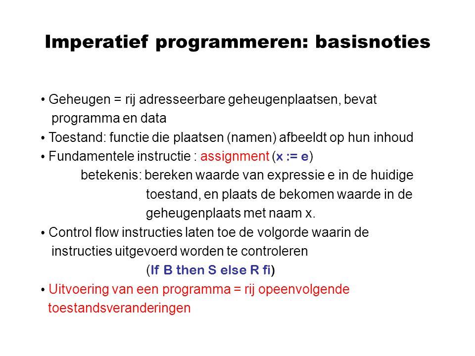 Imperatief programmeren: basisnoties Geheugen = rij adresseerbare geheugenplaatsen, bevat programma en data Toestand: functie die plaatsen (namen) afb