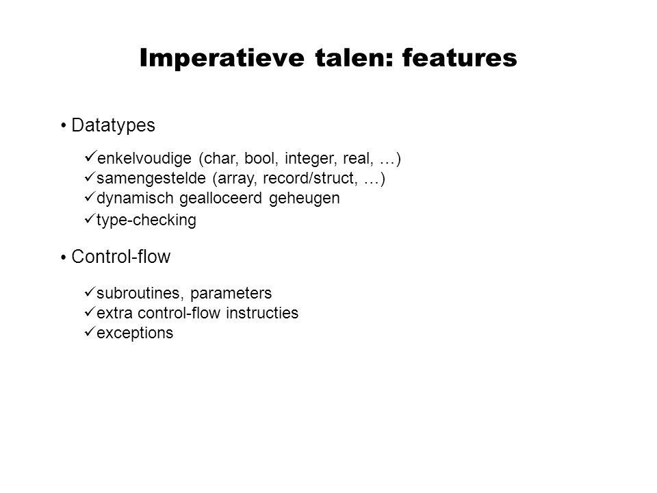Typering Aan de objecten gemanipuleerd door een programma (expressies, namen) wordt een type toegekend dat bepaalt voordelen: hoeveel geheugen er nodig is hoe de inhoud van het overeenkomstige stuk geheugen dient geïnterpreteerd te worden (bv real array of 3 dimensions, row-major) Hulpmiddel voor de programmeur Hulpmiddel voor de compiler ontwerper Bevordert sterk de detectie van vermoedelijke fouten(fout assignment, fout type van parameters, etc) In talen met een sterk typesysteem (bv functionele talen) is een type-correct programma verrassend vaak fout-vrij