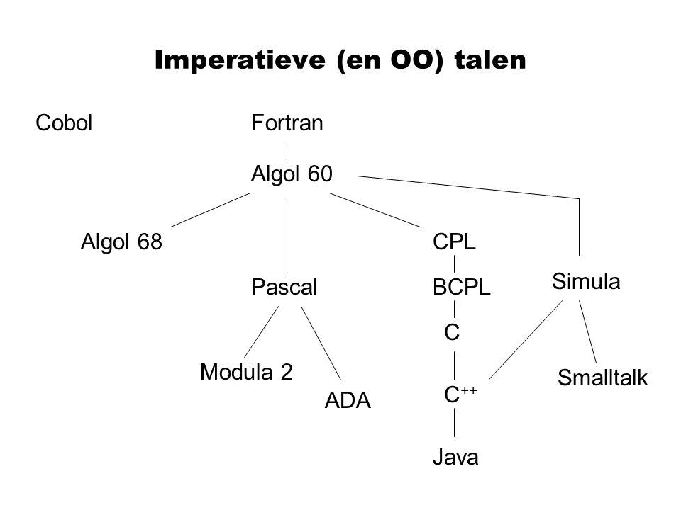 Imperatieve (en OO) talen Fortran Algol 60 Algol 68CPL C BCPLPascal C ++ Modula 2 ADA Smalltalk Java Simula Cobol