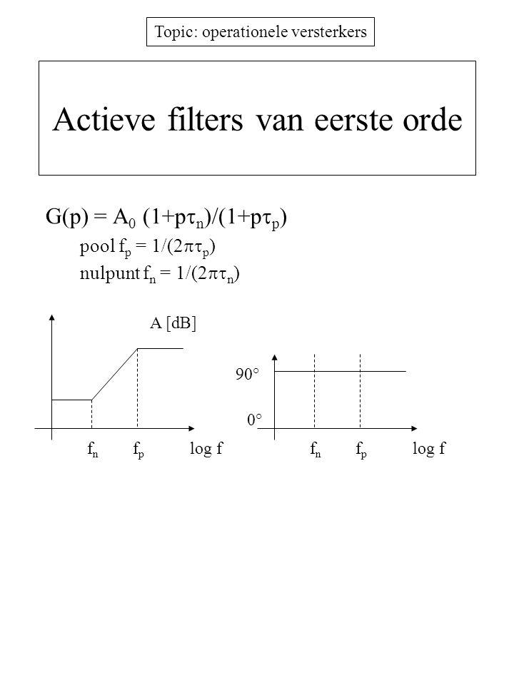 Topic: operationele versterkers Actieve filters van eerste orde G(p) = A 0 (1+p  n )/(1+p  p ) pool f p = 1/(2  p ) nulpunt f n = 1/(2  n ) A [d