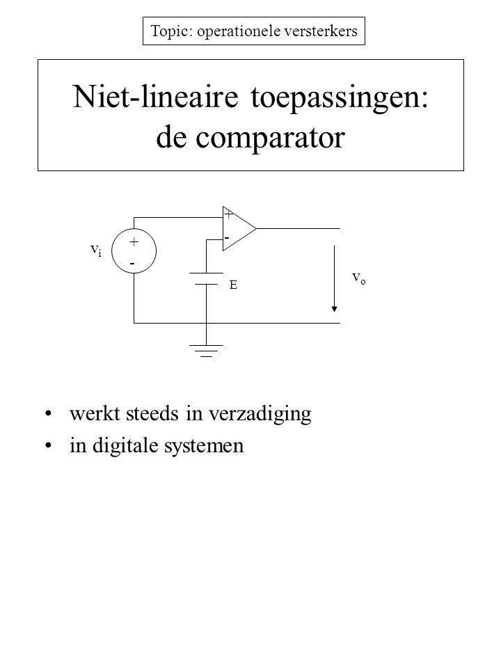 Topic: operationele versterkers Niet-lineaire toepassingen: de comparator werkt steeds in verzadiging in digitale systemen +-+- E vivi - + vovo
