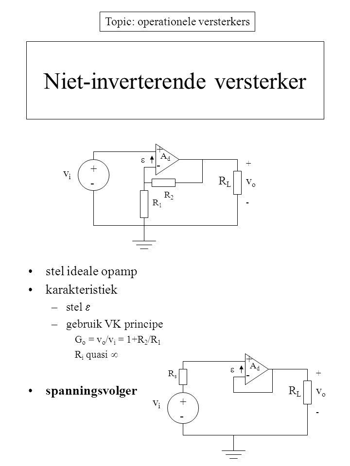 Topic: operationele versterkers Niet-inverterende versterker stel ideale opamp karakteristiek –stel  –gebruik VK principe G o = v o /v i = 1+R 2 /R 1