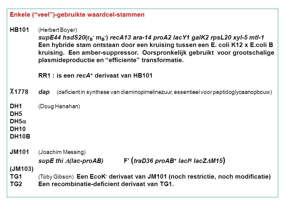 "Enkele (""veel"")-gebruikte waardcel-stammen HB101 (Herbert Boyer) supE44 hsdS20(r B - m B - ) recA13 ara-14 proA2 lacY1 galK2 rpsL20 xyl-5 mtl-1 Een hy"