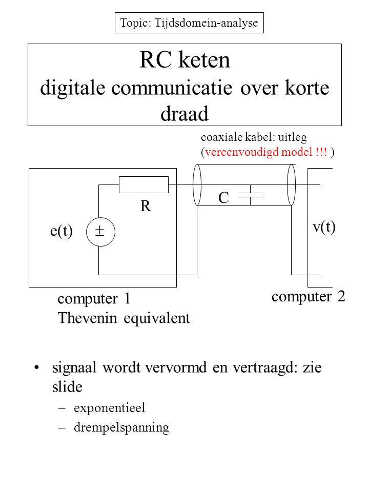Topic: Tijdsdomein-analyse RC keten digitale communicatie over korte draad signaal wordt vervormd en vertraagd: zie slide –exponentieel –drempelspanni
