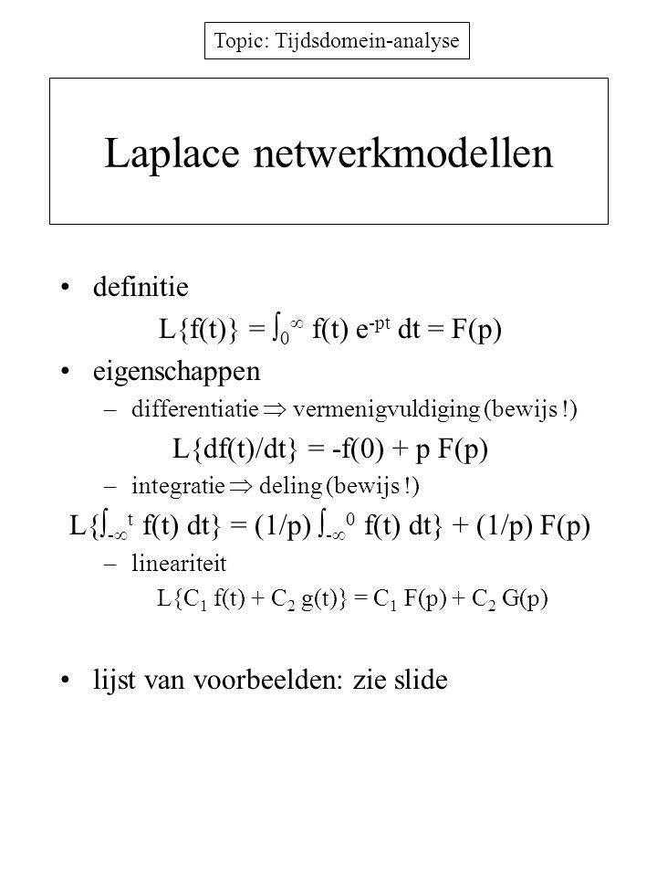 Topic: Tijdsdomein-analyse Laplace netwerkmodellen definitie L{f(t)} =  0  f(t) e -pt dt = F(p) eigenschappen –differentiatie  vermenigvuldiging (b