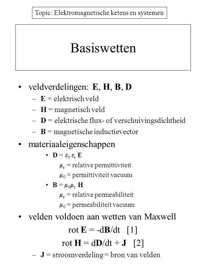 Topic: Elektromagnetische ketens en systemen Basiswetten veldverdelingen: E, H, B, D –E = elektrisch veld –H = magnetisch veld –D = elektrische flux- of verschuivingsdichtheid –B = magnetische inductievector materiaaleigenschappen D =  0  r E  r = relative permittiviteit  0 = permittiviteit vacuum B =  0  r H  r = relative permeabiliteit  0 = permeabiliteit vacuum velden voldoen aan wetten van Maxwell rot E = -dB/dt [1] rot H = dD/dt + J [2] –J = stroomverdeling = bron van velden