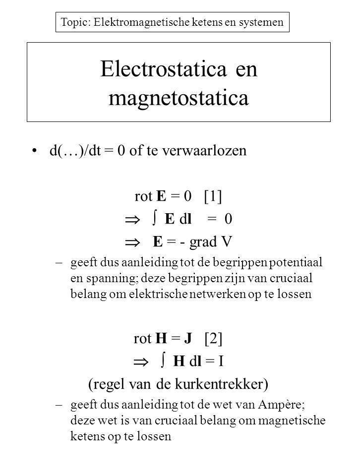 Topic: Elektromagnetische ketens en systemen Electrostatica en magnetostatica d(…)/dt = 0 of te verwaarlozen rot E = 0 [1]   E dl = 0  E = - grad V –geeft dus aanleiding tot de begrippen potentiaal en spanning; deze begrippen zijn van cruciaal belang om elektrische netwerken op te lossen rot H = J [2]   H dl = I (regel van de kurkentrekker) –geeft dus aanleiding tot de wet van Ampère; deze wet is van cruciaal belang om magnetische ketens op te lossen