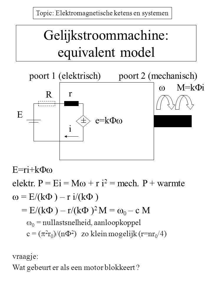 Topic: Elektromagnetische ketens en systemen Gelijkstroommachine: equivalent model E=ri+k  elektr.