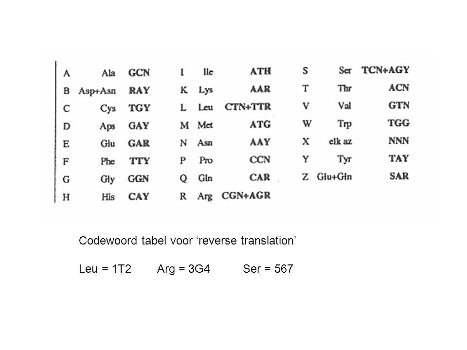 Codewoord tabel voor 'reverse translation' Leu = 1T2 Arg = 3G4 Ser = 567