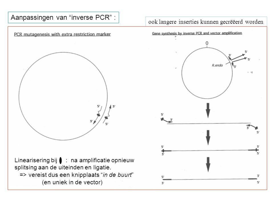"""ook langere inserties kunnen gecrëëerd worden Aanpassingen van """"inverse PCR"""" : Linearisering bij : na amplificatie opnieuw splitsing aan de uiteinden"""
