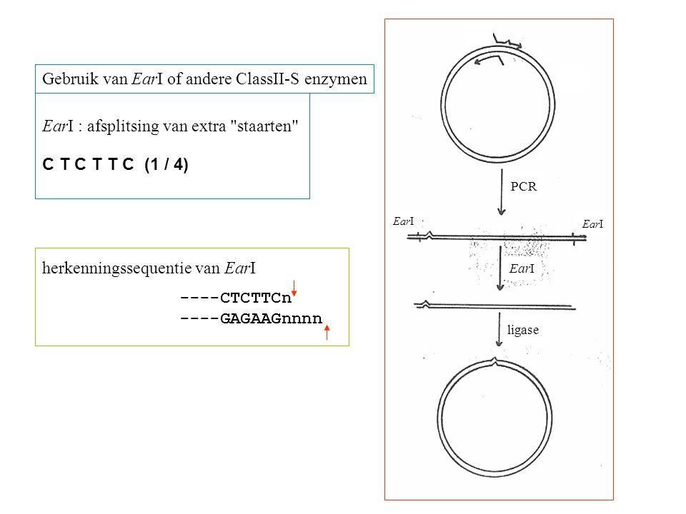 Gebruik van EarI of andere ClassII-S enzymen herkenningssequentie van EarI ----CTCTTCn ----GAGAAGnnnn EarI : afsplitsing van extra