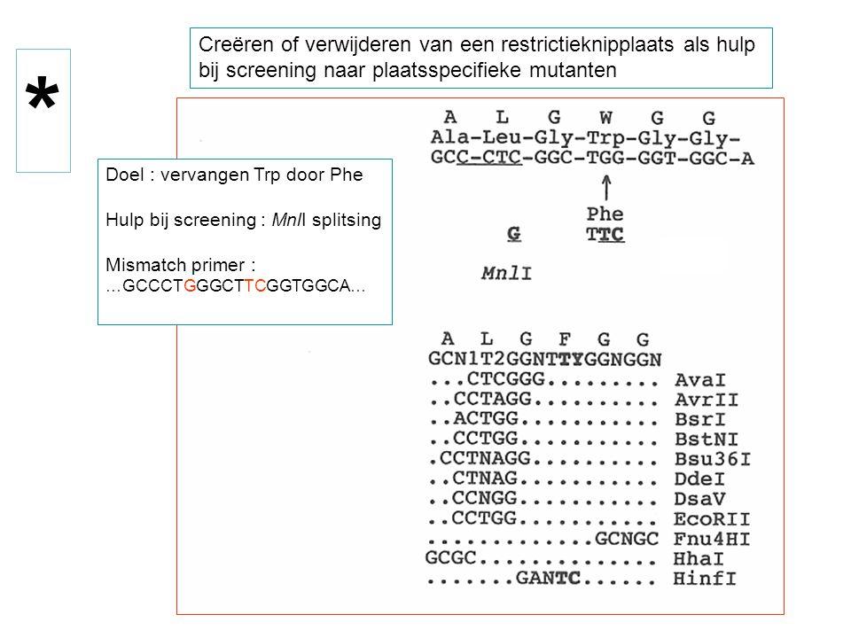 Creëren of verwijderen van een restrictieknipplaats als hulp bij screening naar plaatsspecifieke mutanten Doel : vervangen Trp door Phe Hulp bij scree
