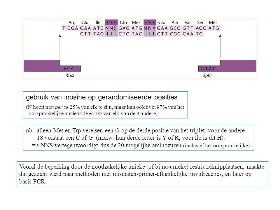 gebruik van inosine op gerandomiseerde posities (N hoeft niet per se 25% van elk te zijn, maar kan ook bvb. 97% van het oorspronkelijke nucleotide en