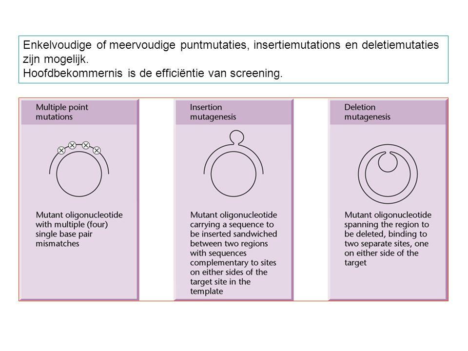 Enkelvoudige of meervoudige puntmutaties, insertiemutations en deletiemutaties zijn mogelijk. Hoofdbekommernis is de efficiëntie van screening.