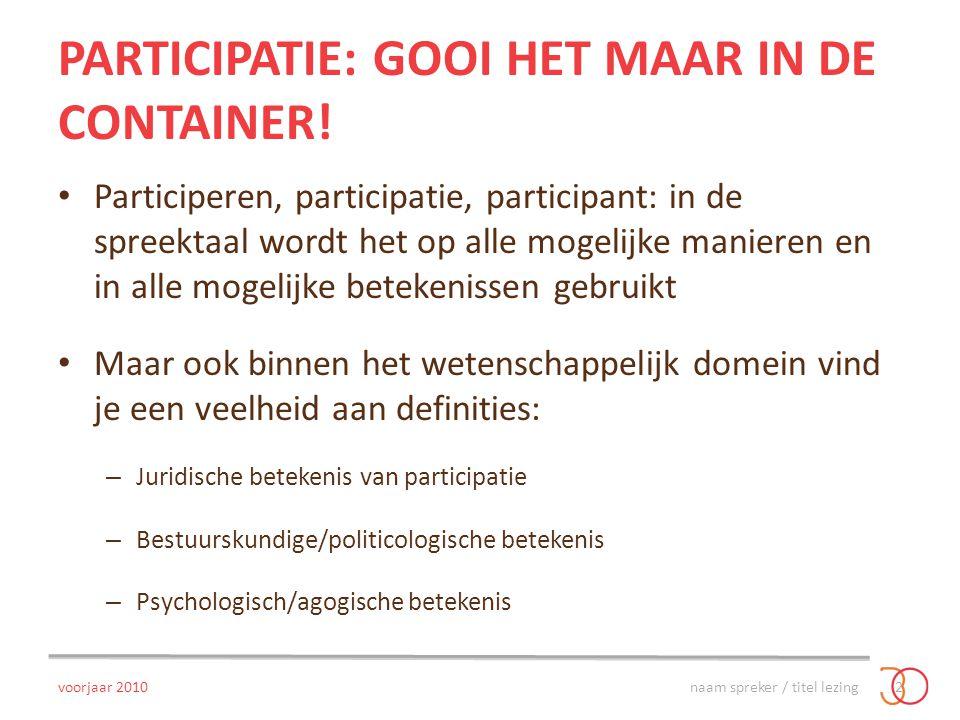 PARTICIPATIE: GOOI HET MAAR IN DE CONTAINER! Participeren, participatie, participant: in de spreektaal wordt het op alle mogelijke manieren en in alle