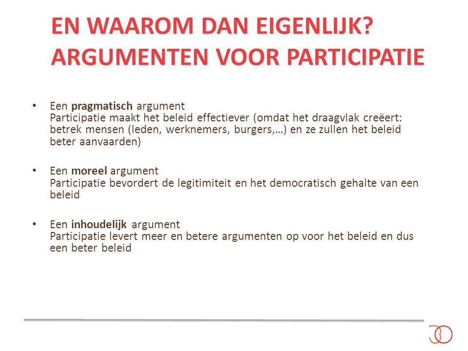 EN WAAROM DAN EIGENLIJK? ARGUMENTEN VOOR PARTICIPATIE Een pragmatisch argument Participatie maakt het beleid effectiever (omdat het draagvlak creëert: