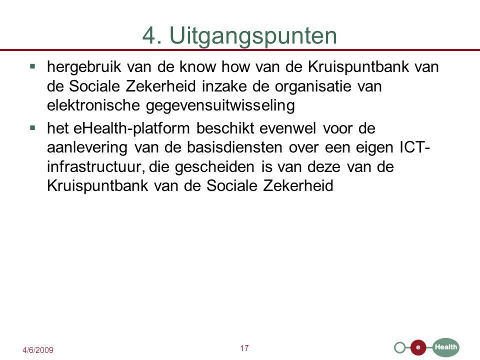 17 4/6/2009 4. Uitgangspunten  hergebruik van de know how van de Kruispuntbank van de Sociale Zekerheid inzake de organisatie van elektronische gegev