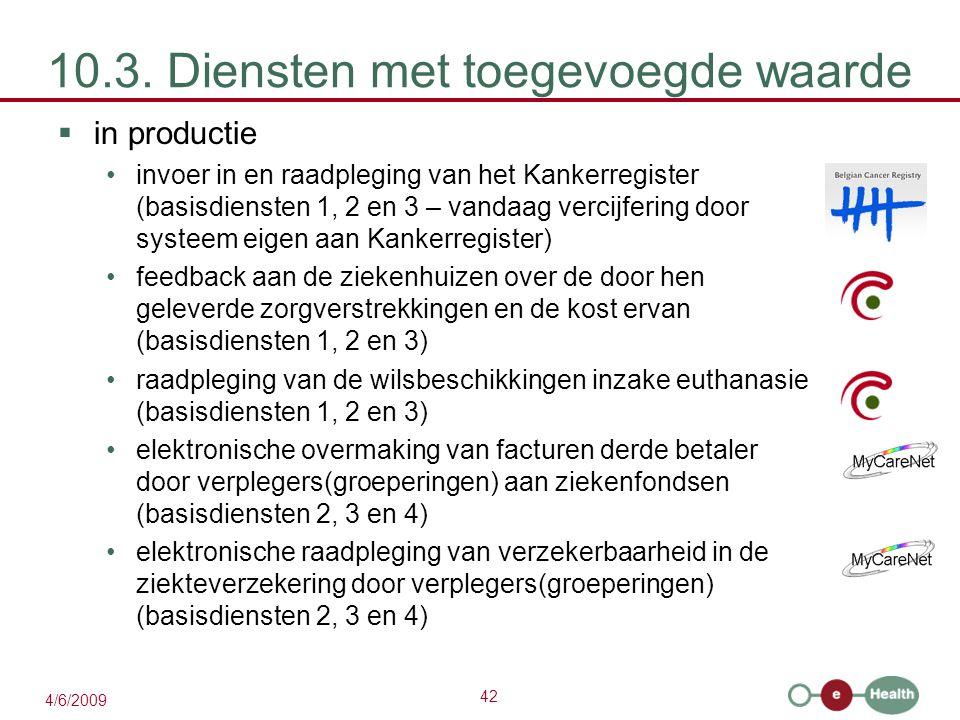 42 4/6/2009 10.3. Diensten met toegevoegde waarde  in productie invoer in en raadpleging van het Kankerregister (basisdiensten 1, 2 en 3 – vandaag ve