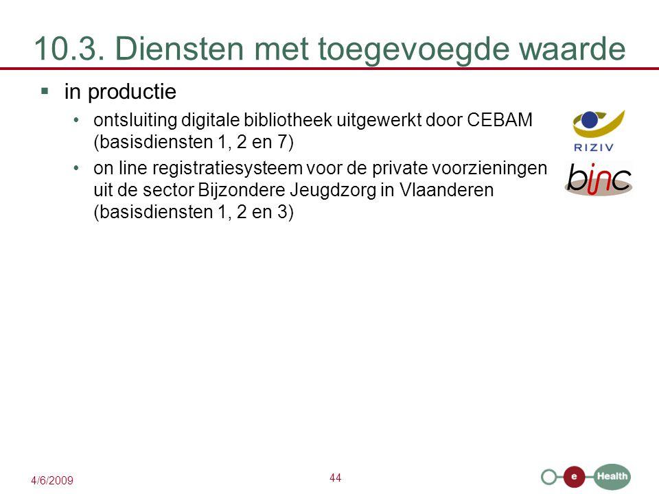 44 4/6/2009 10.3. Diensten met toegevoegde waarde  in productie ontsluiting digitale bibliotheek uitgewerkt door CEBAM (basisdiensten 1, 2 en 7) on l