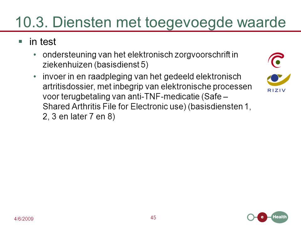45 4/6/2009 10.3. Diensten met toegevoegde waarde  in test ondersteuning van het elektronisch zorgvoorschrift in ziekenhuizen (basisdienst 5) invoer
