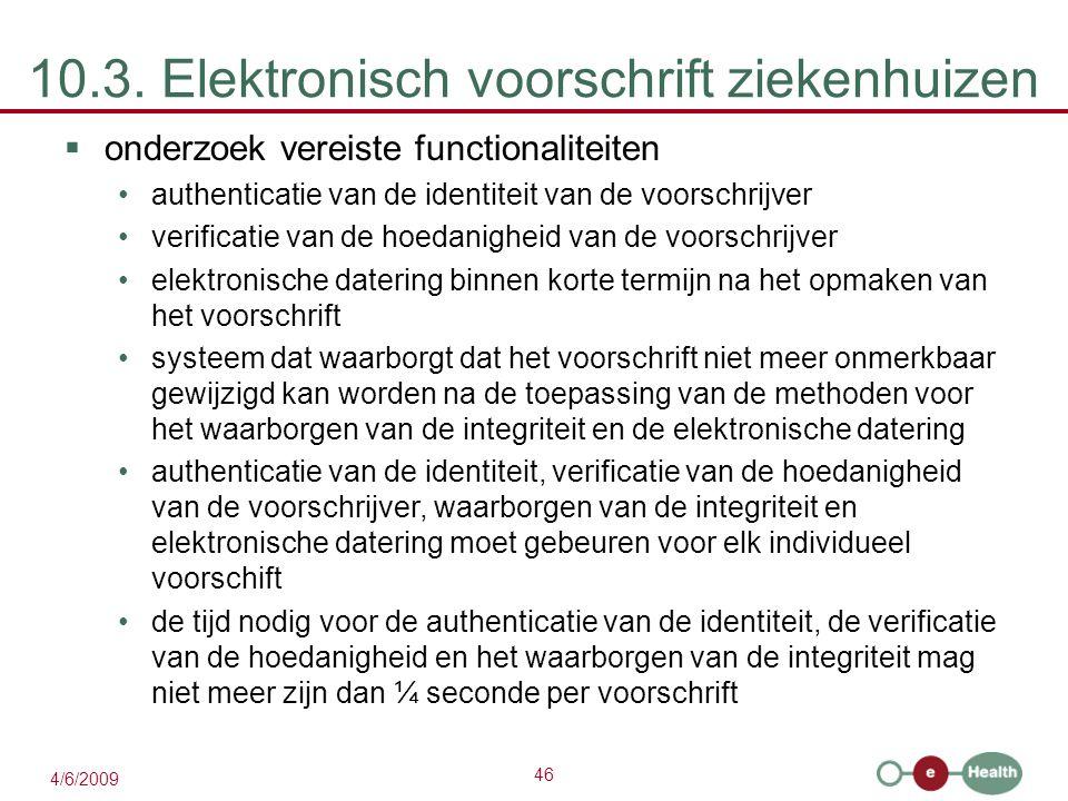 46 4/6/2009 10.3. Elektronisch voorschrift ziekenhuizen  onderzoek vereiste functionaliteiten authenticatie van de identiteit van de voorschrijver ve