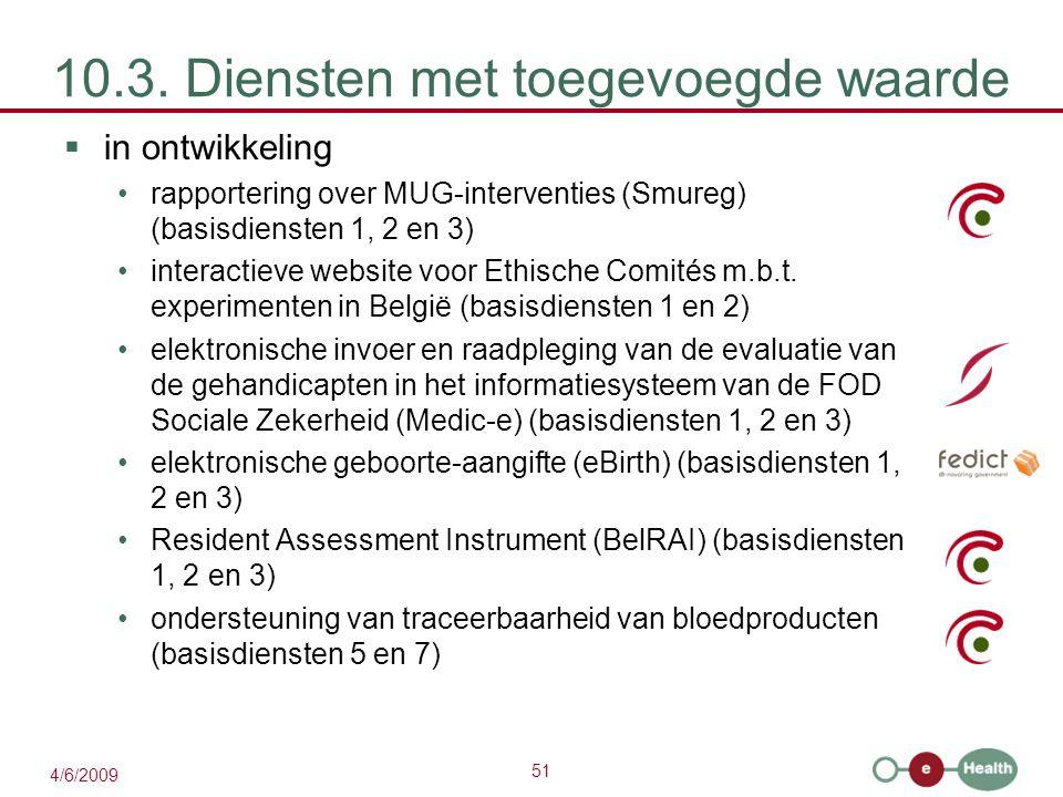 51 4/6/2009 10.3. Diensten met toegevoegde waarde  in ontwikkeling rapportering over MUG-interventies (Smureg) (basisdiensten 1, 2 en 3) interactieve