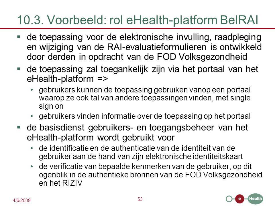 53 4/6/2009 10.3. Voorbeeld: rol eHealth-platform BelRAI  de toepassing voor de elektronische invulling, raadpleging en wijziging van de RAI-evaluati