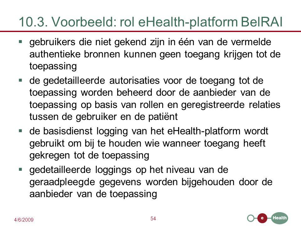 54 4/6/2009 10.3. Voorbeeld: rol eHealth-platform BelRAI  gebruikers die niet gekend zijn in één van de vermelde authentieke bronnen kunnen geen toeg