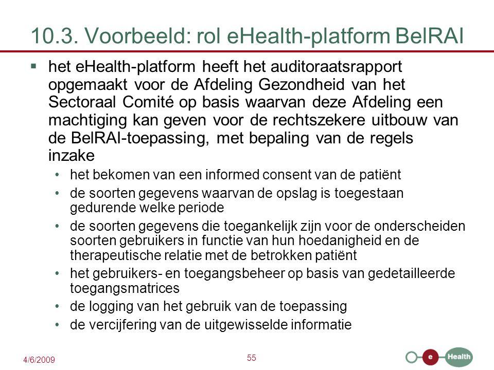 55 4/6/2009 10.3. Voorbeeld: rol eHealth-platform BelRAI  het eHealth-platform heeft het auditoraatsrapport opgemaakt voor de Afdeling Gezondheid van