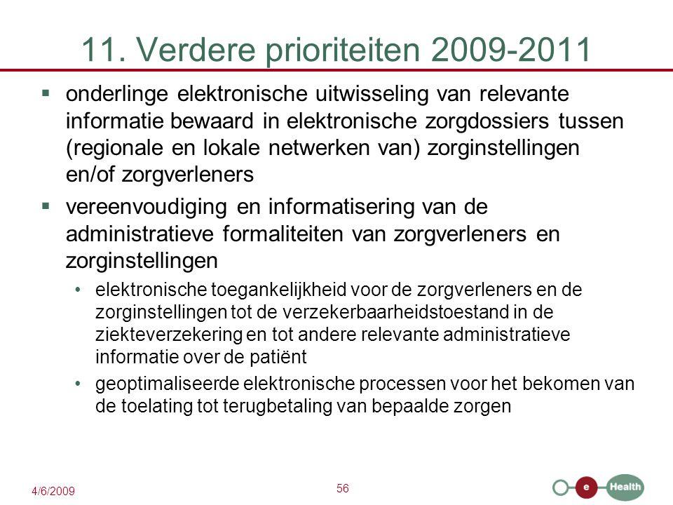 56 4/6/2009 11. Verdere prioriteiten 2009-2011  onderlinge elektronische uitwisseling van relevante informatie bewaard in elektronische zorgdossiers