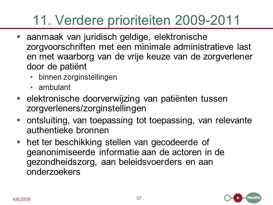 57 4/6/2009 11. Verdere prioriteiten 2009-2011  aanmaak van juridisch geldige, elektronische zorgvoorschriften met een minimale administratieve last
