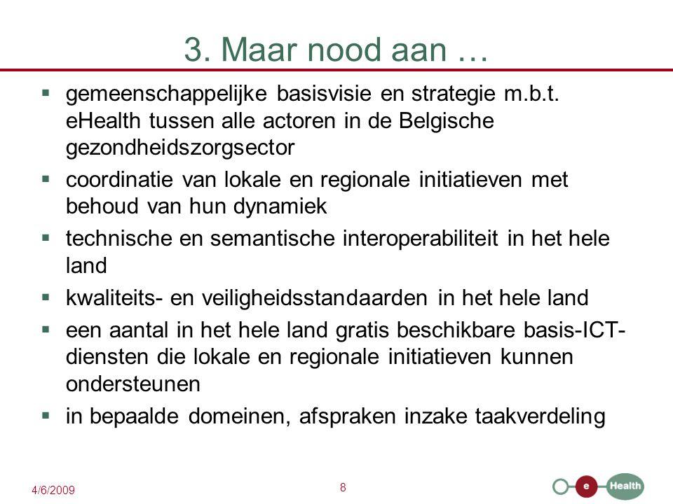 8 4/6/2009 3. Maar nood aan …  gemeenschappelijke basisvisie en strategie m.b.t. eHealth tussen alle actoren in de Belgische gezondheidszorgsector 