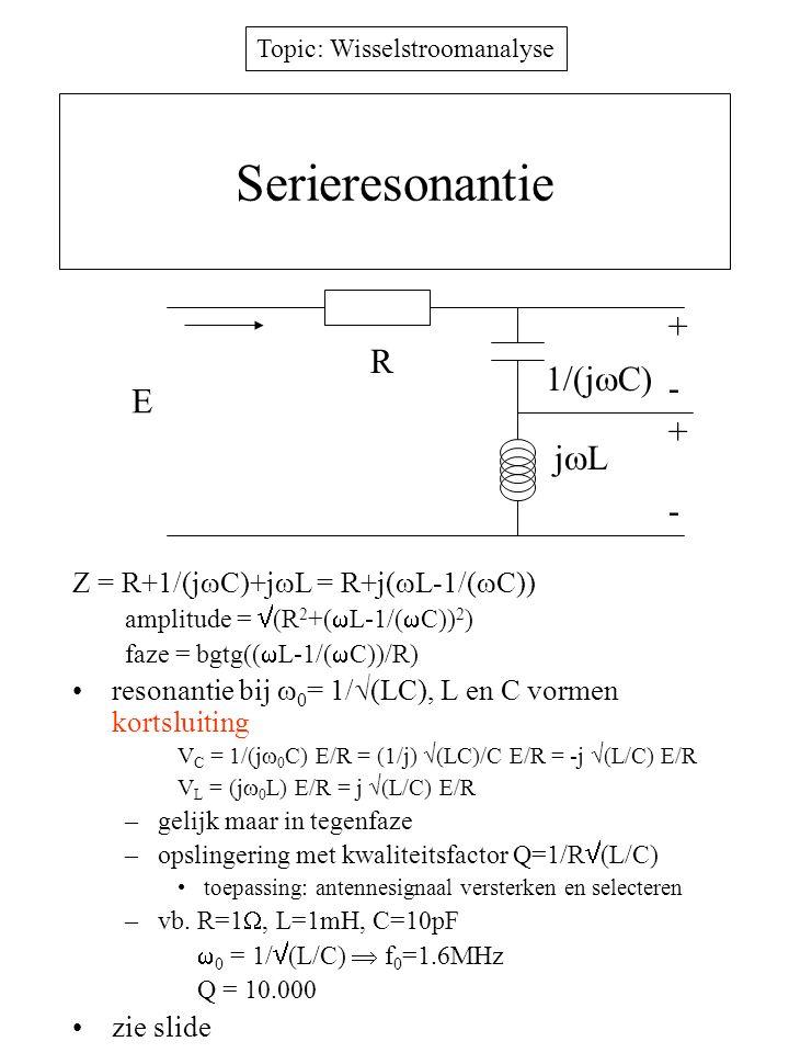 Topic: Wisselstroomanalyse Serieresonantie Z = R+1/(j  C)+j  L = R+j(  L-1/(  C)) amplitude =  (R 2 +(  L-1/(  C)) 2 ) faze = bgtg((  L-1/( 