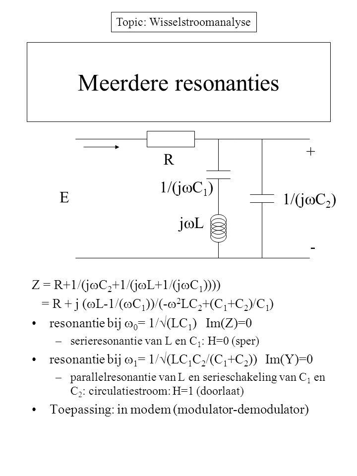 Topic: Wisselstroomanalyse Meerdere resonanties Z = R+1/(j  C 2 +1/(j  L+1/(j  C 1 )))) = R + j (  L-1/(  C 1 ))/(-  2 LC 2 +(C 1 +C 2 )/C 1 ) r
