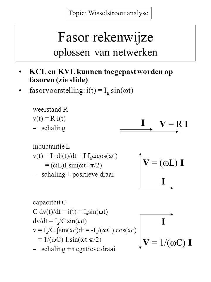 Topic: Wisselstroomanalyse Vermogen in een impedantie vermogen: P(t) = v(t) i(t) vermogen in impedantie Z =V/I –ogenblikkelijk: P(t) = V a sin(  t) I a sin(  t+  ) –gemiddeld: P = 1/T  0 T P(t)dt = V a I a /2 cos  effectieve waarde van een wisselspanning en wisselstroom: V= V a /  2 en I= I a /  2 gemiddeld vermogen in Z=R+jX –P = VIcos  ; cos  = arbeidsfactor –P = VI (spanningvector stroomvector) –P wordt volledig gedissipeerd in R P = (V R/  (R 2 +X 2 )) 2 /R = VIcos  in 1 periode is totale energie naar X nul naar L en C gaat geen vermogen