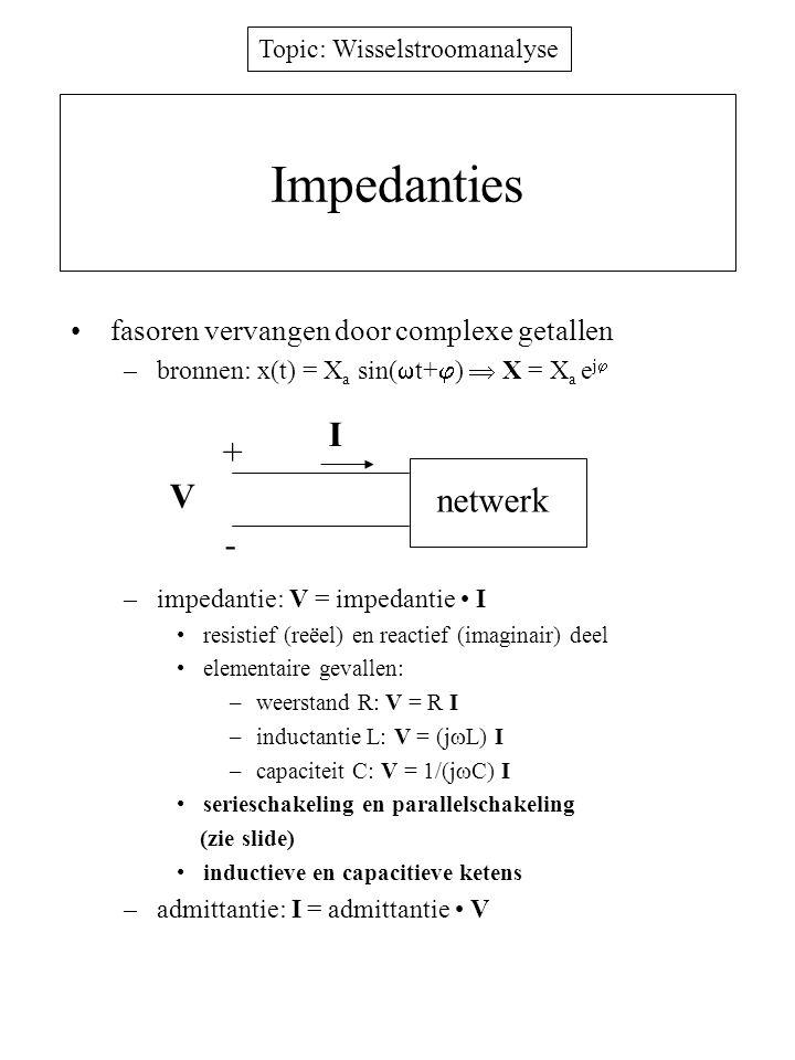 Topic: Wisselstroomanalyse RC keten analyse via complexe rekenwijze regel van de spanningsdeler –V c = E 1/(j  C)/(R+1/(j  C)) = E/(1+j  RC) –V aC =E a /  (1+(  ) 2 ) –hoek tussen E a en V aC : tg  = -  –dezelfde oplossing als met Laplace of fasoren doch veel eenvoudiger, enkel algebra met complexe getallen Z=R  Z=1/(j  C) i(t) I v(t) V C =V ac e j  e(t) E=E a e j0 E a sin(  t) + -