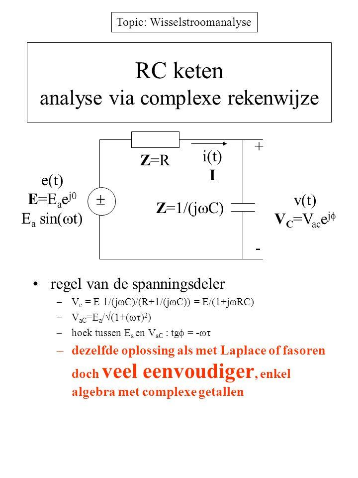 Topic: Wisselstroomanalyse RC keten analyse via complexe rekenwijze regel van de spanningsdeler –V c = E 1/(j  C)/(R+1/(j  C)) = E/(1+j  RC) –V aC