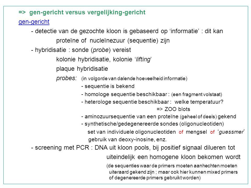 => gen-gericht versus vergelijking-gericht gen-gericht - detectie van de gezochte kloon is gebaseerd op 'informatie' : dit kan proteïne of nucleïnezuu