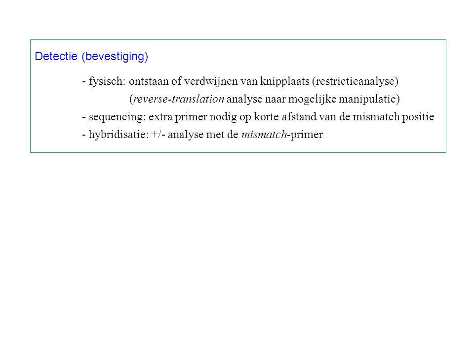 Detectie (bevestiging) - fysisch: ontstaan of verdwijnen van knipplaats (restrictieanalyse) (reverse-translation analyse naar mogelijke manipulatie) - sequencing: extra primer nodig op korte afstand van de mismatch positie - hybridisatie: +/- analyse met de mismatch-primer