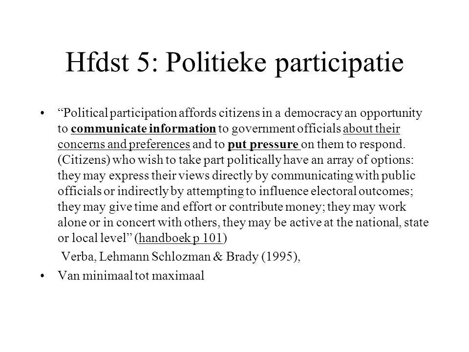 Conventionele en niet-conventionele vormen van politieke participatie Conventionele actiemidelen: worden door de overheid of elites zelf georganiseerd.