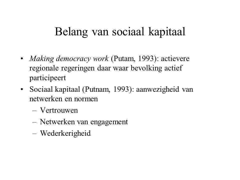 Belang van sociaal kapitaal Making democracy work (Putam, 1993): actievere regionale regeringen daar waar bevolking actief participeert Sociaal kapita