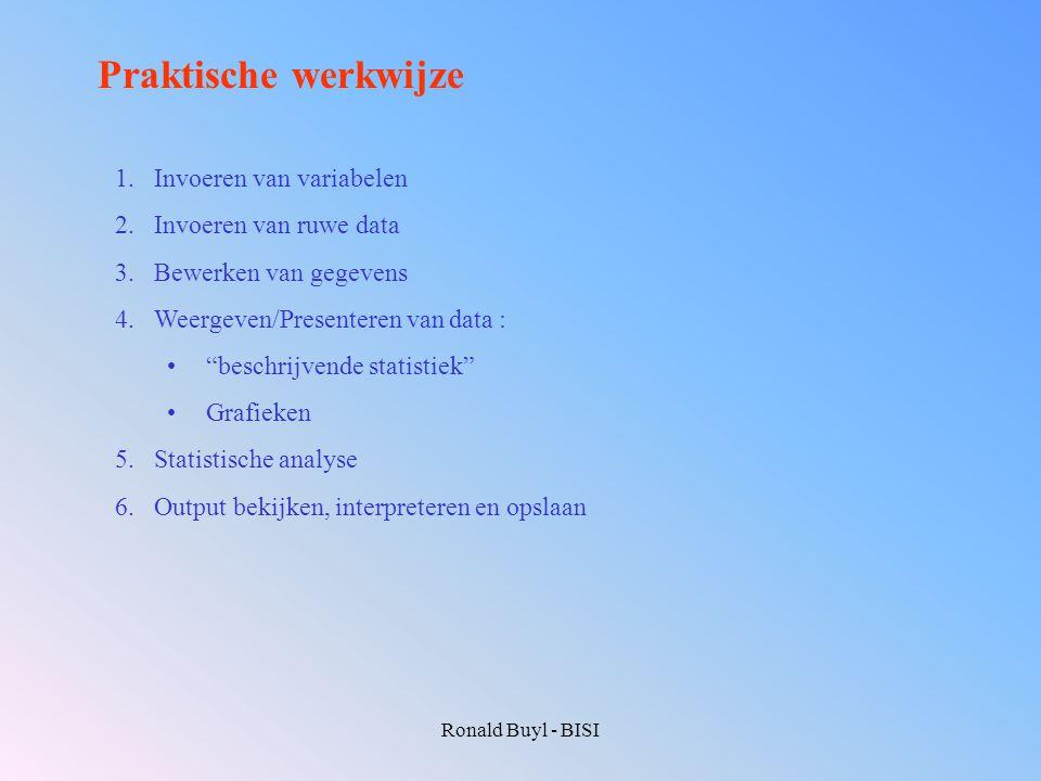 Ronald Buyl - BISI Praktische werkwijze 1.Invoeren van variabelen 2.Invoeren van ruwe data 3.Bewerken van gegevens 4.Weergeven/Presenteren van data :