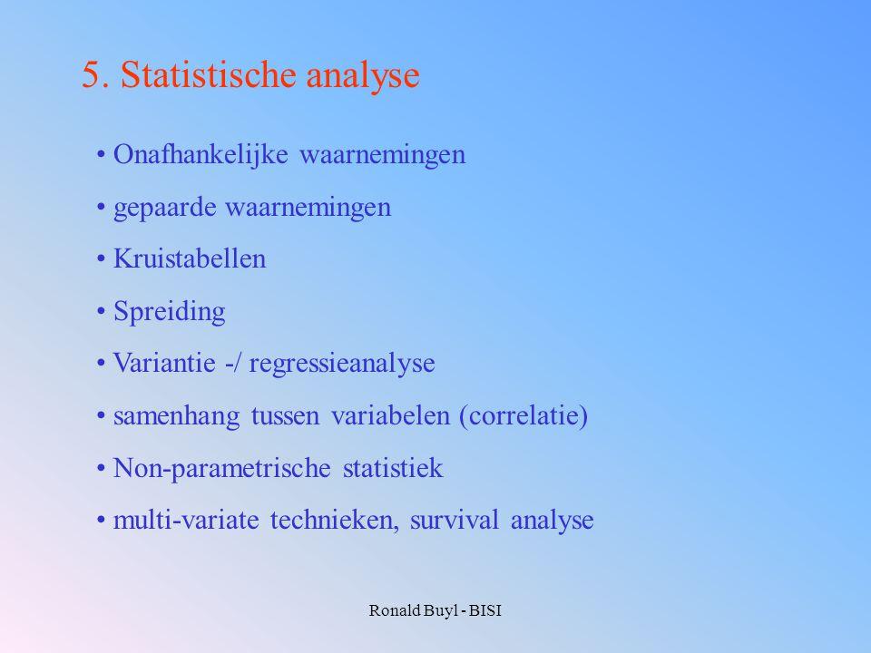 Ronald Buyl - BISI 5. Statistische analyse Onafhankelijke waarnemingen gepaarde waarnemingen Kruistabellen Spreiding Variantie -/ regressieanalyse sam