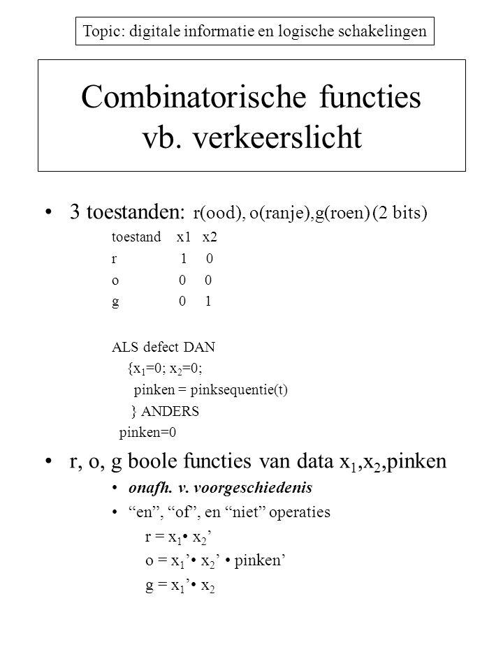 Topic: digitale informatie en logische schakelingen Combinatorische functies vb. verkeerslicht 3 toestanden: r(ood), o(ranje),g(roen) (2 bits) toestan