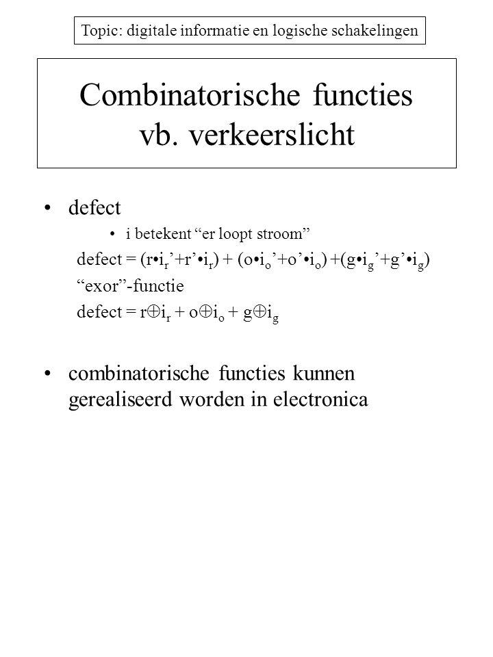 """Topic: digitale informatie en logische schakelingen Combinatorische functies vb. verkeerslicht defect i betekent """"er loopt stroom"""" defect = (ri r '+r'"""