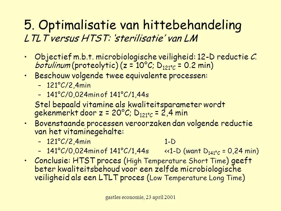 gastles economie, 23 april 2001 Objectief m.b.t. microbiologische veiligheid: 12-D reductie C. botulinum (proteolytic) (z = 10°C; D 121°C = 0.2 min) B